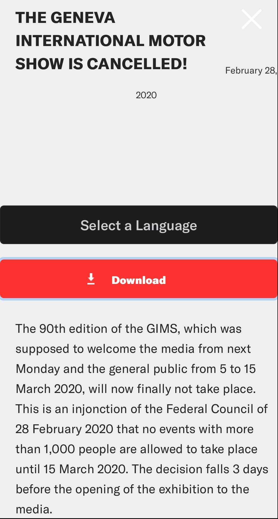 Cancela Autoshow de Ginebra por coronavirus